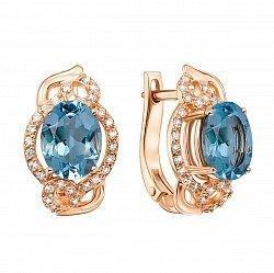 Серьги из красного золота с голубым топазом и кристаллами циркония 000113498