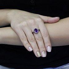 Серебряное кольцо Доната с аметистом, черными и белыми фианитами