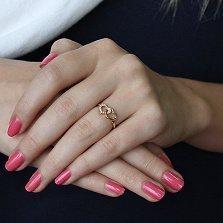 Кольцо из красного золота Ты + Я с фианитами