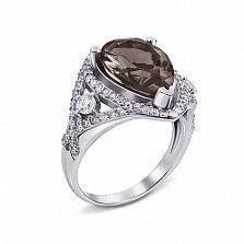 Серебряное кольцо Мерилин с раухтопазом и фианитами