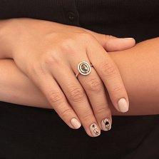 Серебряное кольцо Ульяна с синтезированным морским кварцем и фианитами