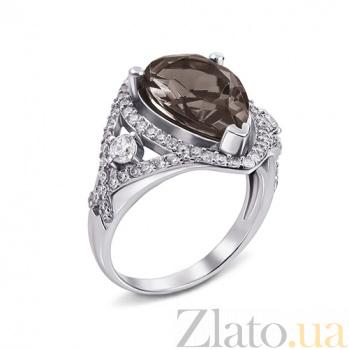 Серебряное кольцо Мерилин с раухтопазом и фианитами 000079684
