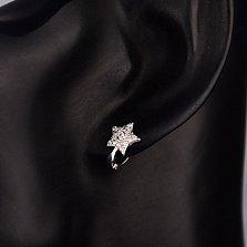 Серебряные серьги-звезды Восторг с белым цирконием