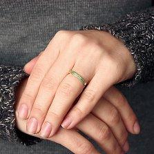 Кольцо в желтом золоте Дарина с изумрудами
