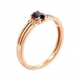 Золотое кольцо Марсела в красном цвете с сапфиром и бриллиантами