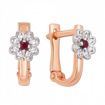 Золотые серьги в комбинированном цвете с рубинами и бриллиантами 000137203