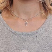 Серебряный крестик Первый защитник с родием