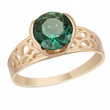 Золотое кольцо с зеленым кварцем Гвиневра