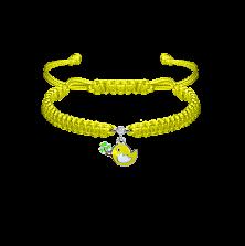 Детский плетеный браслет Птичка и клевер с эмалью и фианитом 12-7см