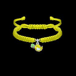 Детский плетеный браслет Птичка и клевер с эмалью на подвеске и фианитом, 7х12м