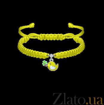 Детский плетеный браслет Птичка и клевер с эмалью и фианитом 12-7см 000080603