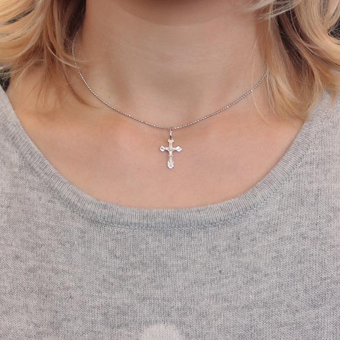 Серебряный крестик Первый защитник с родием 000082865