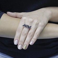 Серебряное кольцо Бабочки с черными фианитами