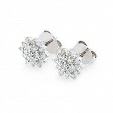Серьги из белого золота Георгина с бриллиантами