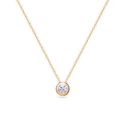 Золотое колье Тинра в красном цвете с фианитом 000047838