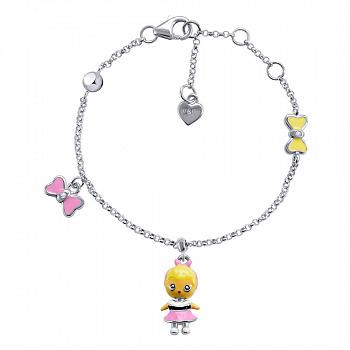 Серебряный браслет Ляля с подвесками девочкой и бантиком с эмалью,15х10 мм
