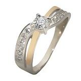 Серебряное кольцо с цирконием и золотой вставкой Дания
