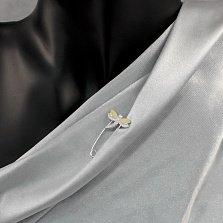 Серебряная булавка Стрекоза с золотыми накладками и фианитами