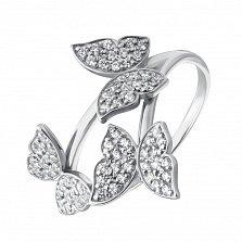 Золотое кольцо Танец бабочек в белом цвете с фианитами