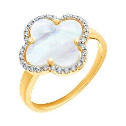 Золотое кольцо в комбинированном цвете Клевер с перламутром и цирконием 000139445