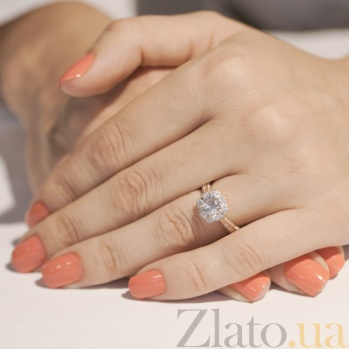 Золотое кольцо с белым цирконием Иланна HUF--80512