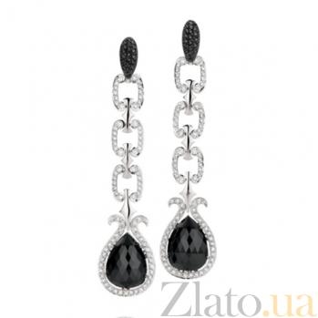 Серьги Argile-Z с ониксом и бриллиантами E-cjZ-W-2ox-198d