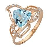 Золотое кольцо Лиллиан с голубым топазом и фианитами