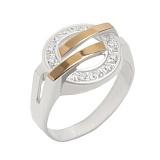 Серебряное кольцо с золотыми вставками и фианитами Доллар