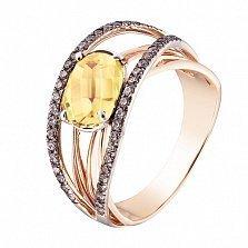 Кольцо в красном и белом золоте Маргарита с цитрином и фианитами