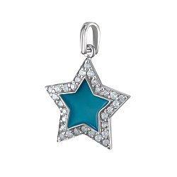 Серебряный кулон Звездочка ясная с голубой эмалью и фианитами