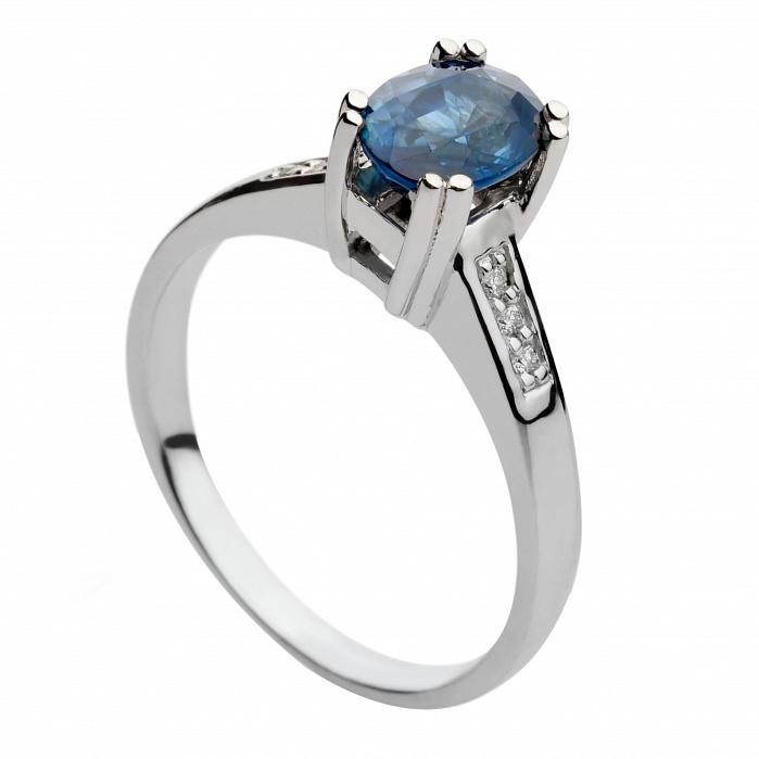 Кольцо из белого золота с сапфиром и бриллиантами Синтия 000030325