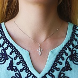 Серебряный крестик с алмазными гранями Спаси и сохрани