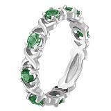 Кольцо в белом золоте Венеция с зеленым кварцем