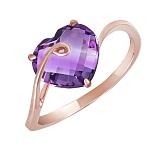 Кольцо из красного золота с аметистом Любящее сердце