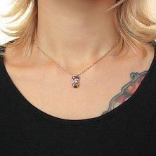 Золотой кулон с аметистом, цитрином, перидотом, бриллиантами, голубым и дымчатым топазом Марта