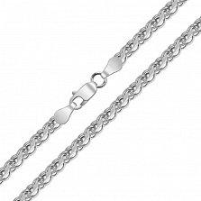Серебряная цепь Орунд с чернением в плетении бисмарк ручеек, 4мм