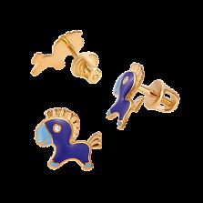 Эксклюзивные детские сережки-пуссеты Пони Стефани с эмалью и бриллиантами