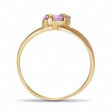Золотое кольцо Линда с синтезированным аметистом