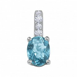 Серебряный кулон с голубым кварцем и фианитами 000134359