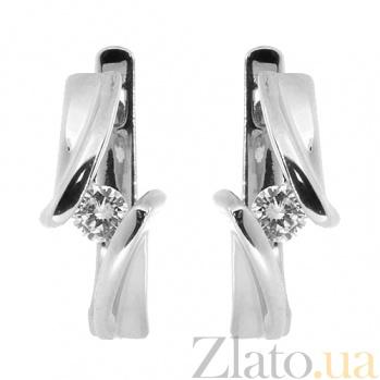 Золотые серьги в белом цвете с бриллиантами Альба 000027326