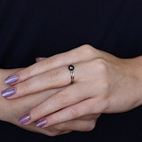 Серебряное кольцо Мария с чёрным жемчугом