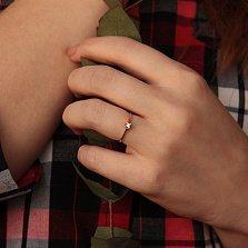 Золотое помолвочное кольцо Лилея с бриллиантом и кастами в форме сердец