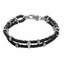 Двойной плетеный кожаный браслет Кронер с серебряными вставками и замком
