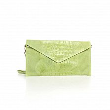 Кожаный клатч Genuine Leather 8055 светло-зеленого цвета под кожу рептилии с ремешком