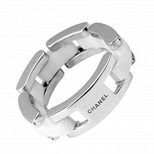 Серебряное кольцо Алексис с белой керамикой в стиле Шанель