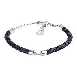 Черный шелковый плетеный браслет Притяжение с серебряными элементами и застежкой, 5мм