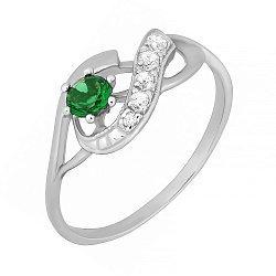 Серебряное кольцо с зеленым фианитом Аделхайд