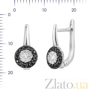 Серьги из белого золота Айседора с черными и белыми бриллиантами 000081202