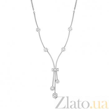 Золотое колье Анжелика в белом цвете с цветочками, бриллиантами и литым декоративным элементом 000100157