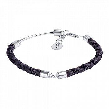 Черный шелковый плетеный браслет с серебряными элементами и застежкой, 5мм 000117140
